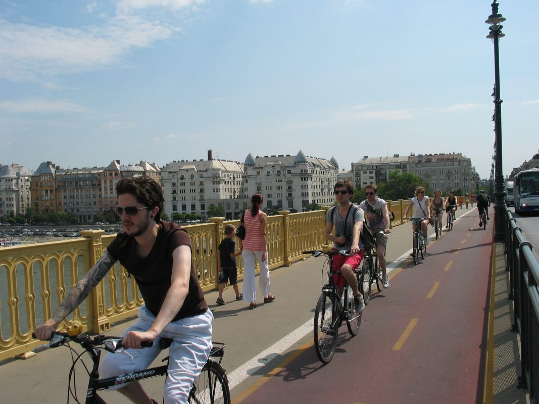 Riding on Margaret bridge to the island